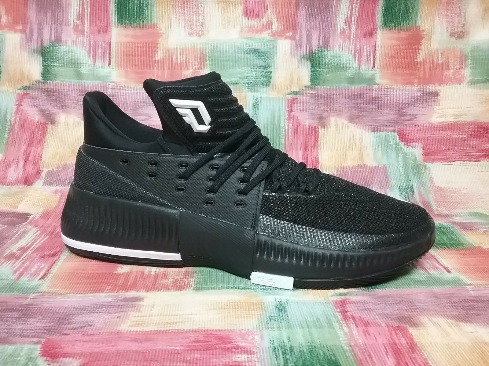 ADIDAS - CQ0277 - DAME 3 - DAMIAN LILLARD - Men's shoes -BLACK WHITE -Size 12.5