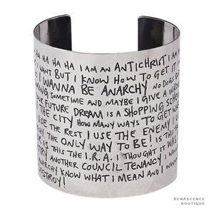 Tom-Binns-Silver-Tone-Metal-Sex-Pistols-Anarchy-in-the-UK-Lyrics-Cuff-Bracelet