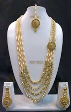 Bollywood Indian Designer Ethnic Gold Plated Fashion Kundan Pearl Jewelry Set