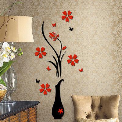 3D Vase Flower Tree Arcylic Wall Sticker Home Room TV Decor Vinyl Decal Mural