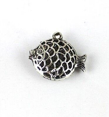 30PCS Tibetan Silver Filigree Fish Charm FC13217