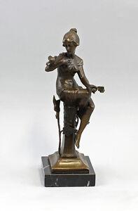 Scultura-in-bronzo-sign-Nick-Lady-seduto-con-Uccelli-Presa-NUOVO-9937628-dss