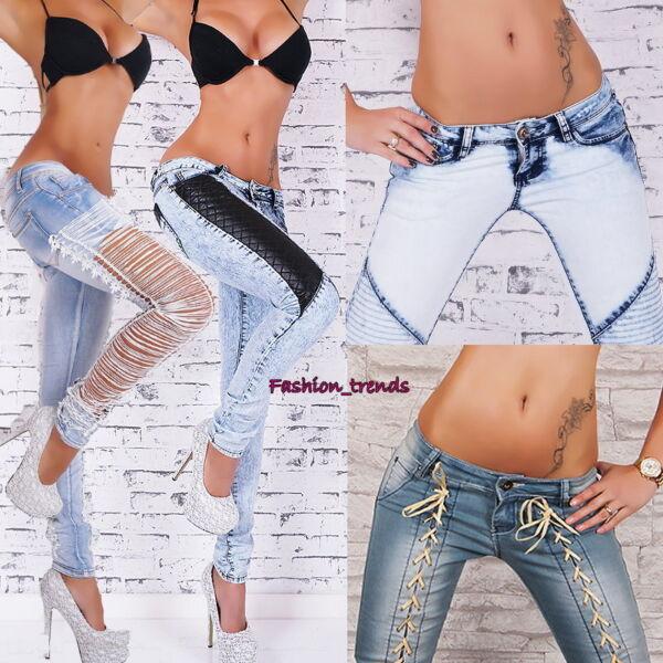 Jeanshose Hüftjeans Skinny Röhrenjeans Kunstleder Jeans mit Rissen* XS S M L XL