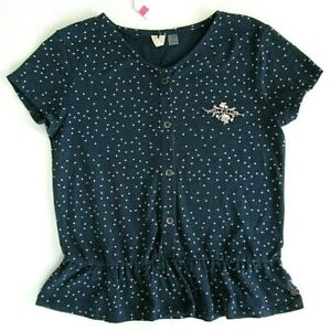Roxy-Girl-Short-Sleeve-039-Smell-In-The-Air-Printed-039-Navy-Polka-Dot-Button-Up-Top