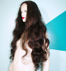 Full-Lace-Wig-Wigs-Human-Indian-Remy-Remi-Body-Wave-Wavy-Multi-Color-Hand-Tied
