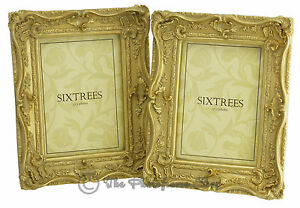 TWINPACK-Shabby-amp-Chic-Very-Ornate-Antique-Vintage-Gold-Photo-Frames-7-034-x-5-034