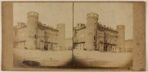 Torino Palazzo Madama Italia Foto Stereo PL48L4n Vintage Albumina c1860