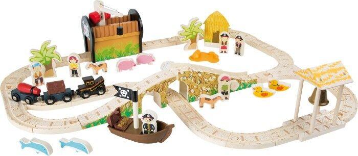 Eisenbahnset Pirateninsel Holz Piraten Eisenbahn Holzeisenbahn Set für Kinder