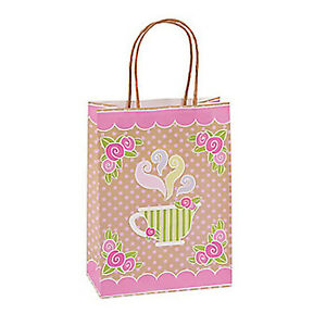 TEA PARTY Teacup Design Kraft Gift Bags with Rope Handles Pack of 6 Free Postage
