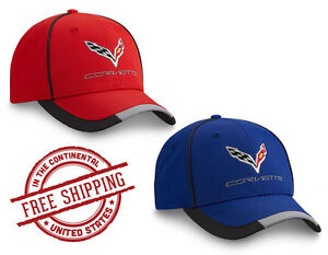 f9a2aee297 Details about C7 Corvette Caps w/ Embroidered Emblem -- Red or Blue -- FREE  Shipping