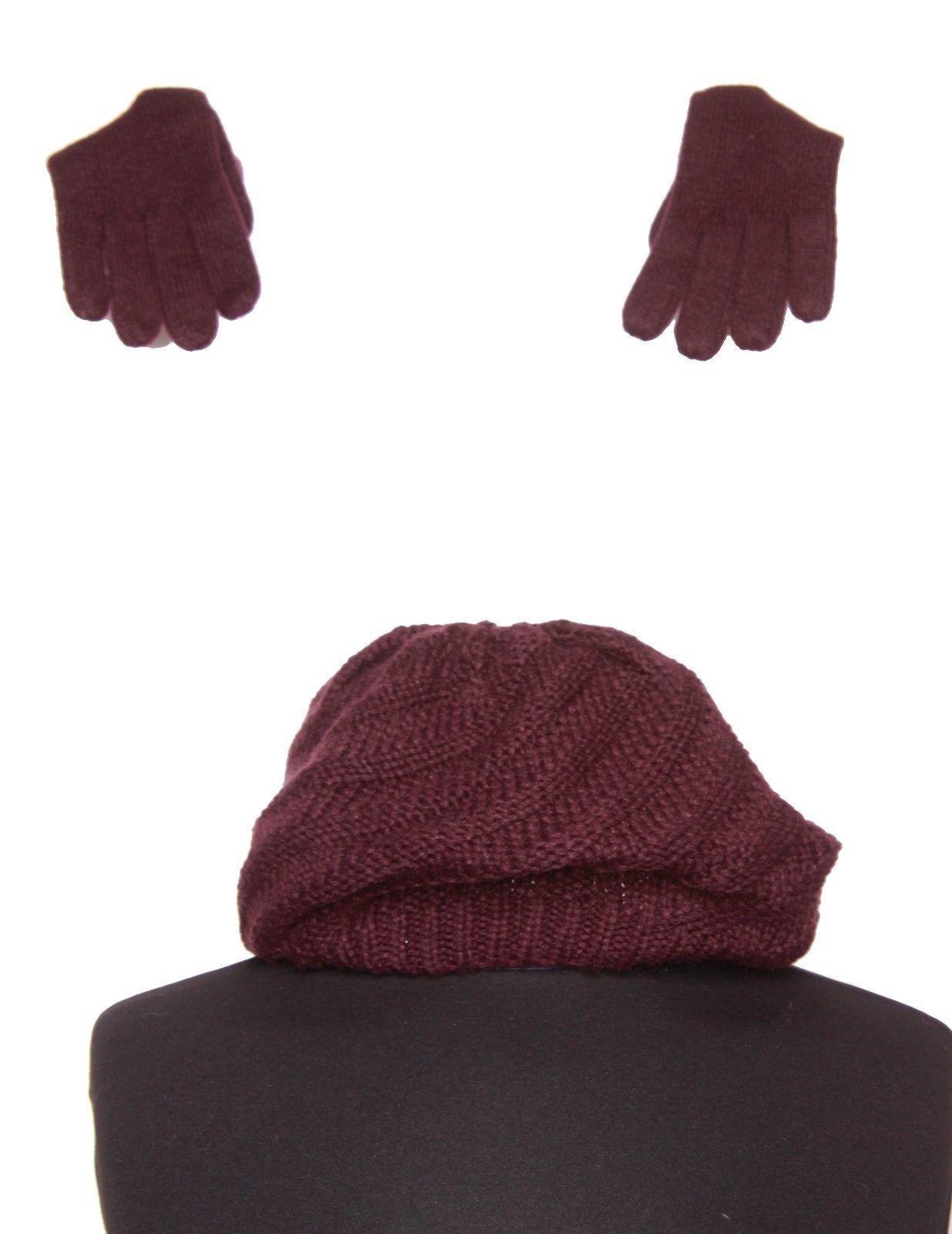 Set Of Hat&Gloves In Plum/Burgundy Colour Winter Warmers Fashion Essentials(S65)