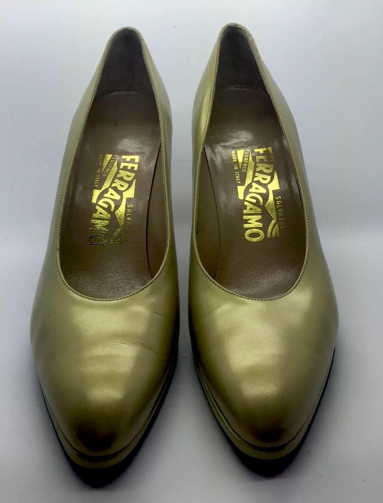 SALVATORE FERRAGAMO Golden Tan Classic Pump Heels Woman's Woman's Woman's 7 3A  Worn Twice 25bff8