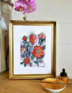 Vintage Floral Mixed Media Painting