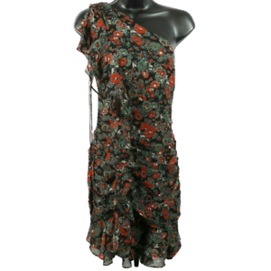 NWT-Veronica-Beard-Multi-Color-Floral-One-Sleeve-Silk-Dress-Women-039-s-Size-12