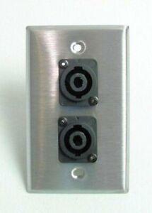 ProCraft-Stainless-Steel-Wall-Plate-W-2-Speakon-Speaker-Input-Channels