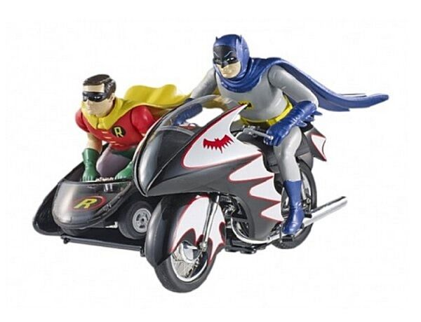 Batcycle with Batman and Robin (Batman Classic TV-Series)