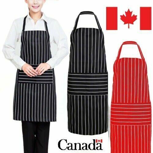 Black Stripe Chef Bib Apron Washable Waiter Kitchen Cafe Chefs Butchers APRONS