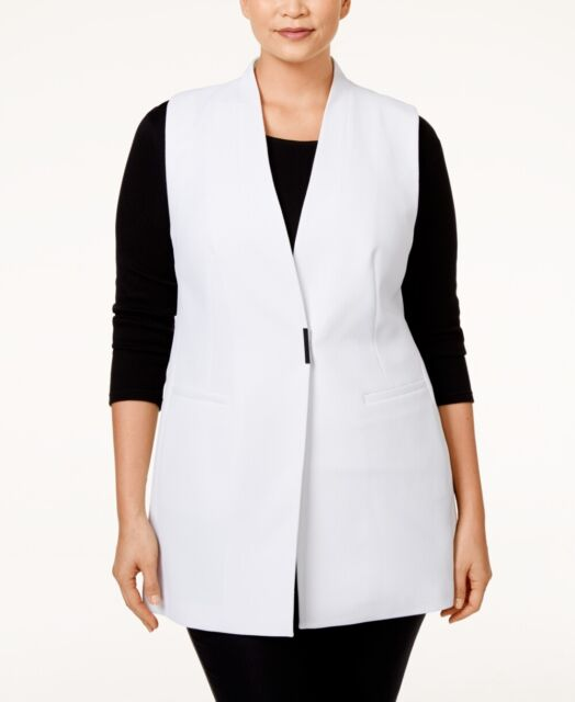 f16b2d2e5d3387 Alfani Plus Size Vest 20w Sleeveless Crepe Jacket White 2nd for sale ...