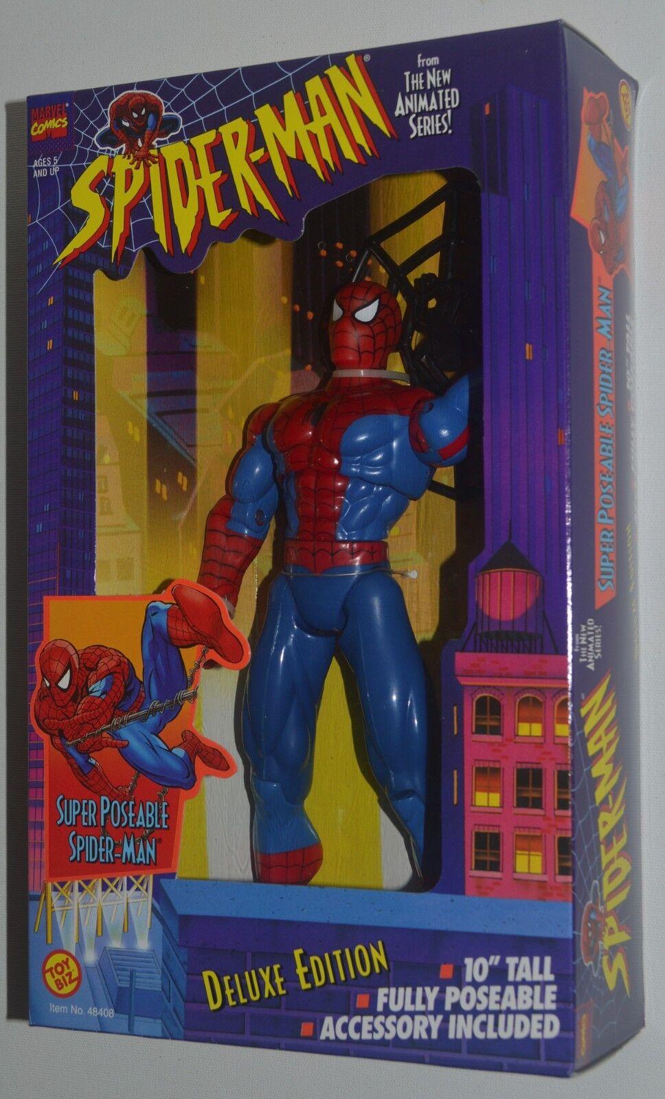 SUPER POSABLE SPIDER-MAN Deluxe Edition 10  Action Figure Toy Biz 1995 HTF MIB