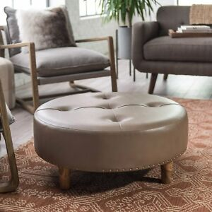 Awesome Details About Brown Faux Leather Tufted 31 Round Cocktail Ottoman Foot Stool W Nailheads Alphanode Cool Chair Designs And Ideas Alphanodeonline