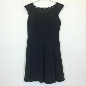 Portmans-Womens-Black-Sleeveless-Lined-Fit-Flare-Dress-with-Back-Zipper-Size-10