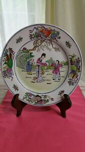 """Antique Chinese Porcelain Plate Handpainted Marked 10""""diameter excellent"""