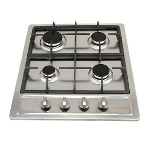 60cm-Silver-Stainless-steel-4-Burner-Stove-Cooking-GAS-Cooktops-Hobs-Kitchen-AU