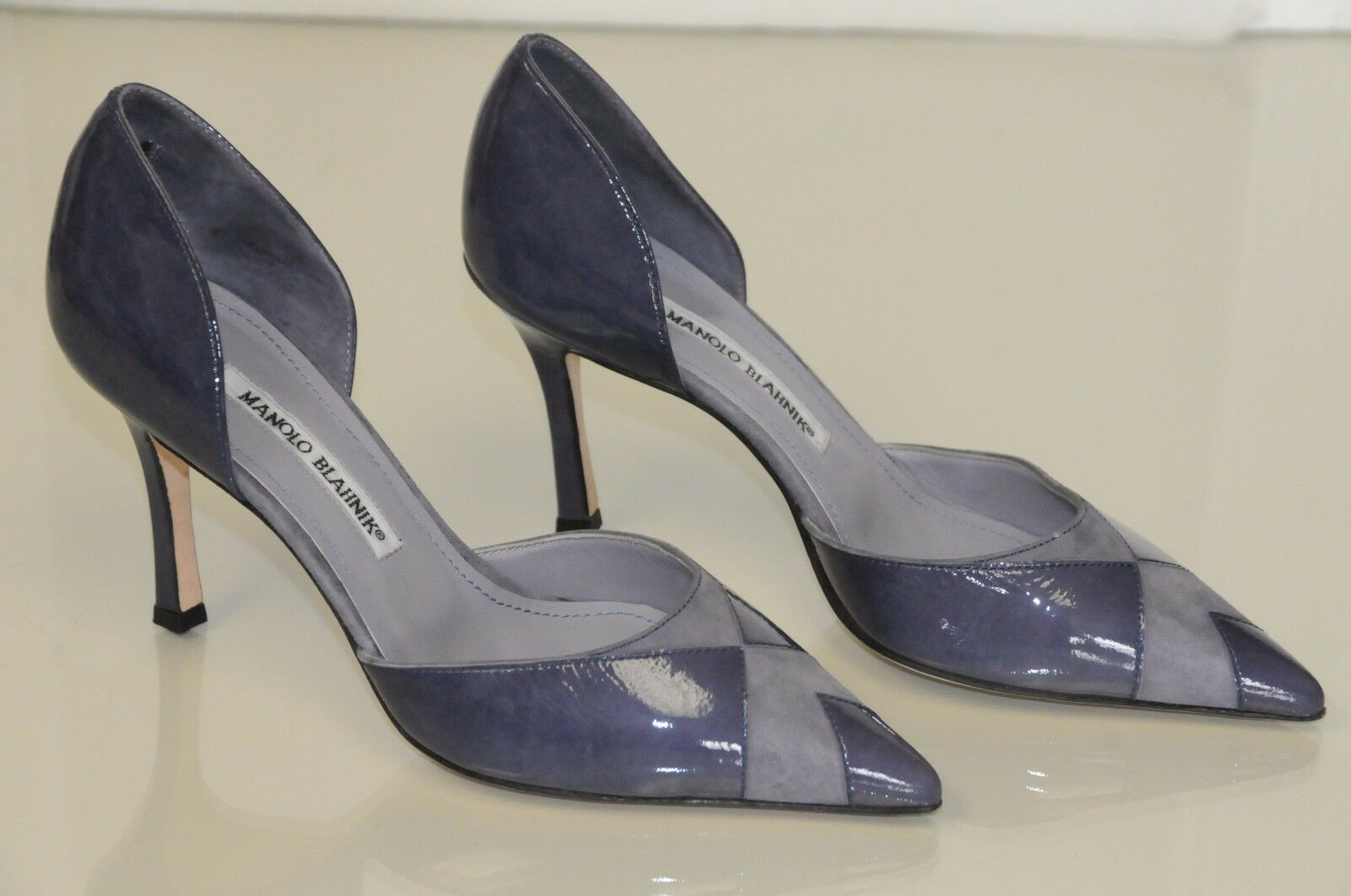 775 NEW MANOLO BLAHNIK BB Dorsay Purple patent Leather Suede  shoes Heels 37