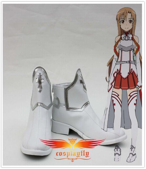 Hot Sword Art Online Asuna Yuuki cosplay Boots Shoes Custom Made any size B1382