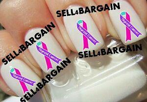 Thyroid Cancer Awareness Purple Pink Teal Ribbon Tattoo Nail