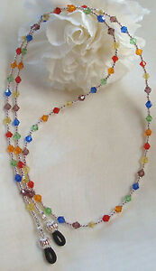 Sterling-Silver-amp-Multi-Colored-Crystal-Eyeglass-Chain-2933-Lanyard