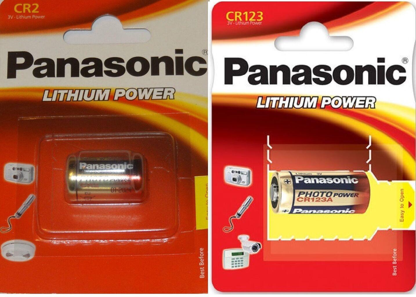 Panasonic Batterie Lithium Photo-Power CR123A CR2 3V CR123 A CR2