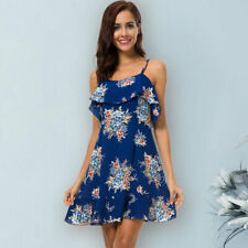 Women's Sexy Blue Sleeveless Floral Deep V Neck Short Dress