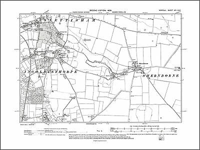 OLD ORDNANCE SURVEY MAP HUNSTANTON THE WASH 1907 WRANGLE HEACHAM SNETTISHAM