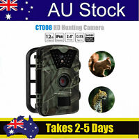 Au 1080p Hd 12mp Trail Camera Long Range Hunting Cam Monitoring Motion Detection