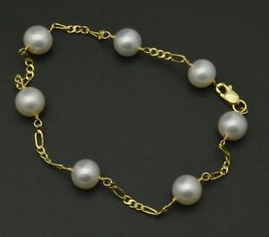 NEW-14K-Solid-Yellow-Gold-White-7mm-Cultured-Pearl-Bracelet-7-5-034