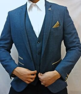 great discount for pre order bright n colour Details about Men's Marc Darcy Dion Blue Tweed Herringbone Checked Vintage  3 Piece Suit