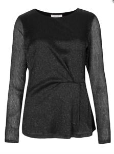 Nuevas-damas-M-amp-S-Per-Una-Negro-Metalico-lado-Plisado-Camiseta-de-manga-larga-talla-16-y-22