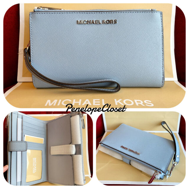 7aa6257f1500 NWT MICHAEL KORS SAFFIANO LEATHER JET SET TRAVEL DOUBLE ZIP WALLET IN PALE  BLUE