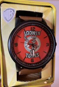 Looney-Tunes-Bugs-Bunny-Men-039-s-Watch-NWT-Brown-Band-Analog-WB-with-tin-BLS
