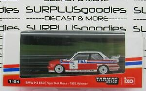 Tarmac-Works-1-64-2020-Hobby64-BMW-M3-E30-Spa-24H-Race-1992-5-w-BASTOS-Decals