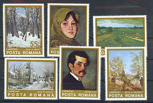 RUMANIA-ROMANIA-1975-MNH-SC-2532-37-Paintings-by-Ion-Andreescu