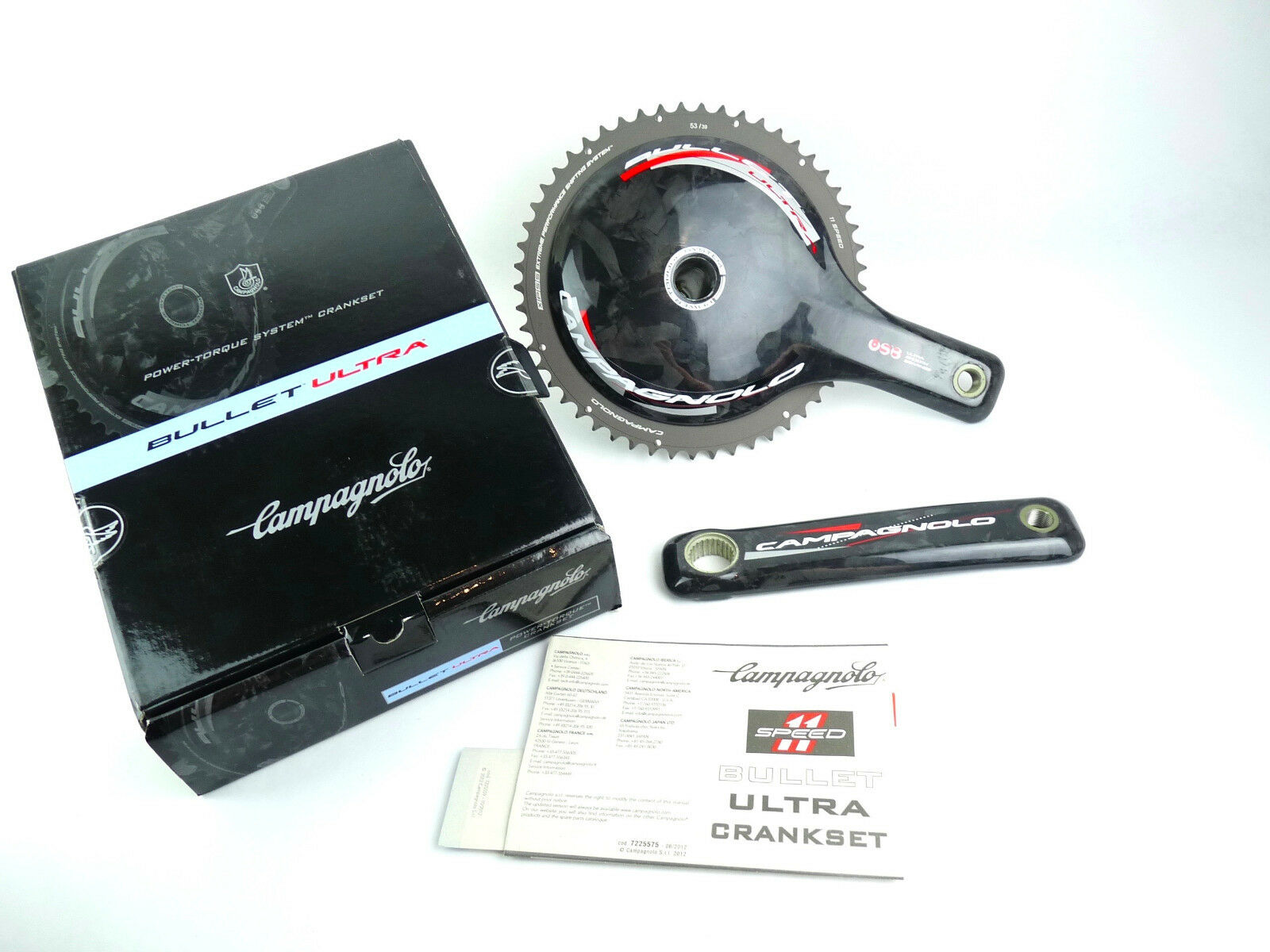 Campagnolo Bullet Crankset Carbon 11 Speed 175mm 53  39 ceramic bearings NOS  new exclusive high-end