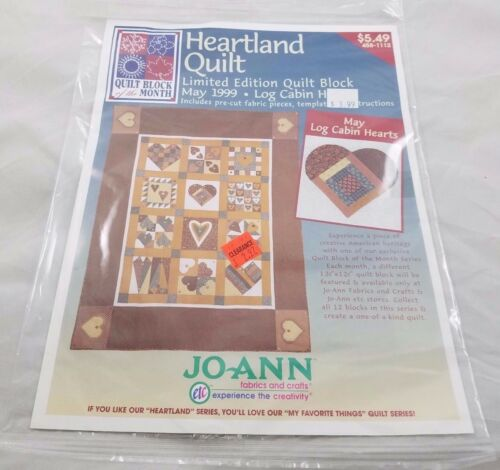 JoAnn Heartland Quilt Block of the Month May 1999 Log Cabin Hearts Sealed Kit