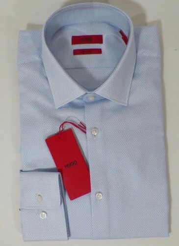 HUGO BOSS C-MABEL US RED LABEL DRESS SHIRT SHARP FIT DIAMOND DOBBY BLUE NWT