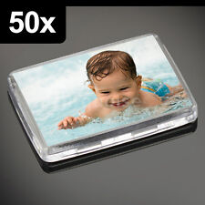 50x Premium Quality Clear Acrylic Blank Photo Fridge Magnets 50 x 35 mm