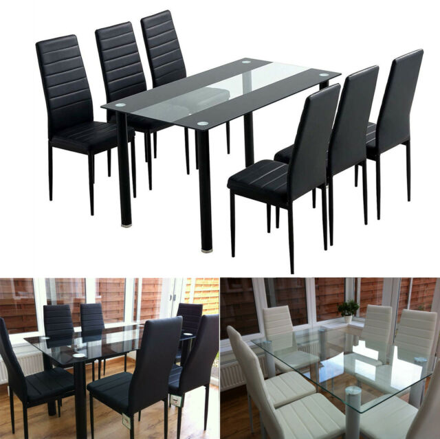 Vivienne Extendable Black Gloss Dining Table Set 6 Slate Chairs Furniture Room For Sale Ebay