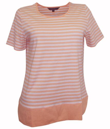 NAVIGAZIONE Shirt Gr 36 38 apricot weiß gestreift kurzarm Streifen Muster