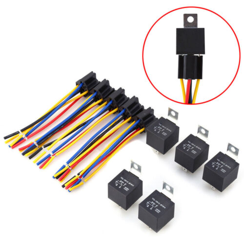1PC DC 12V Car SPDT Automotive Relay 5 Pin 5 Wires w//Harness Socket 30//40 Amp