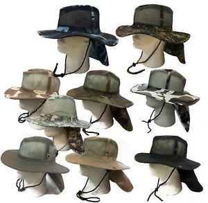 Kids Boonie Fishing Hiking Snap Brim Army Military Neck Cover Flap Bucket Hat